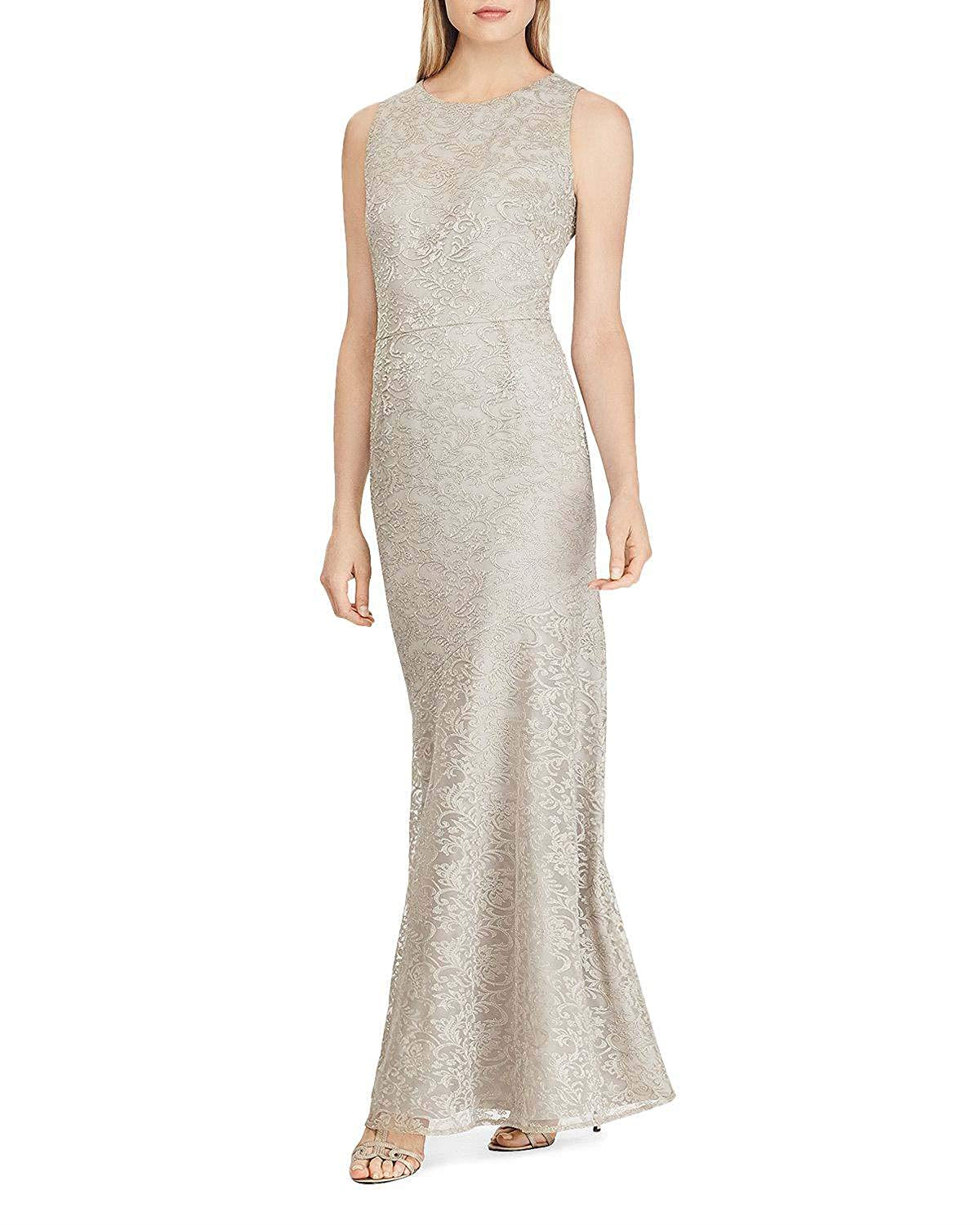 Beige Wanshaqin Women's Embroidered Mesh Gown for Evening Party Sexy Bias Cut Formal Wedding Bridesmaid Dress