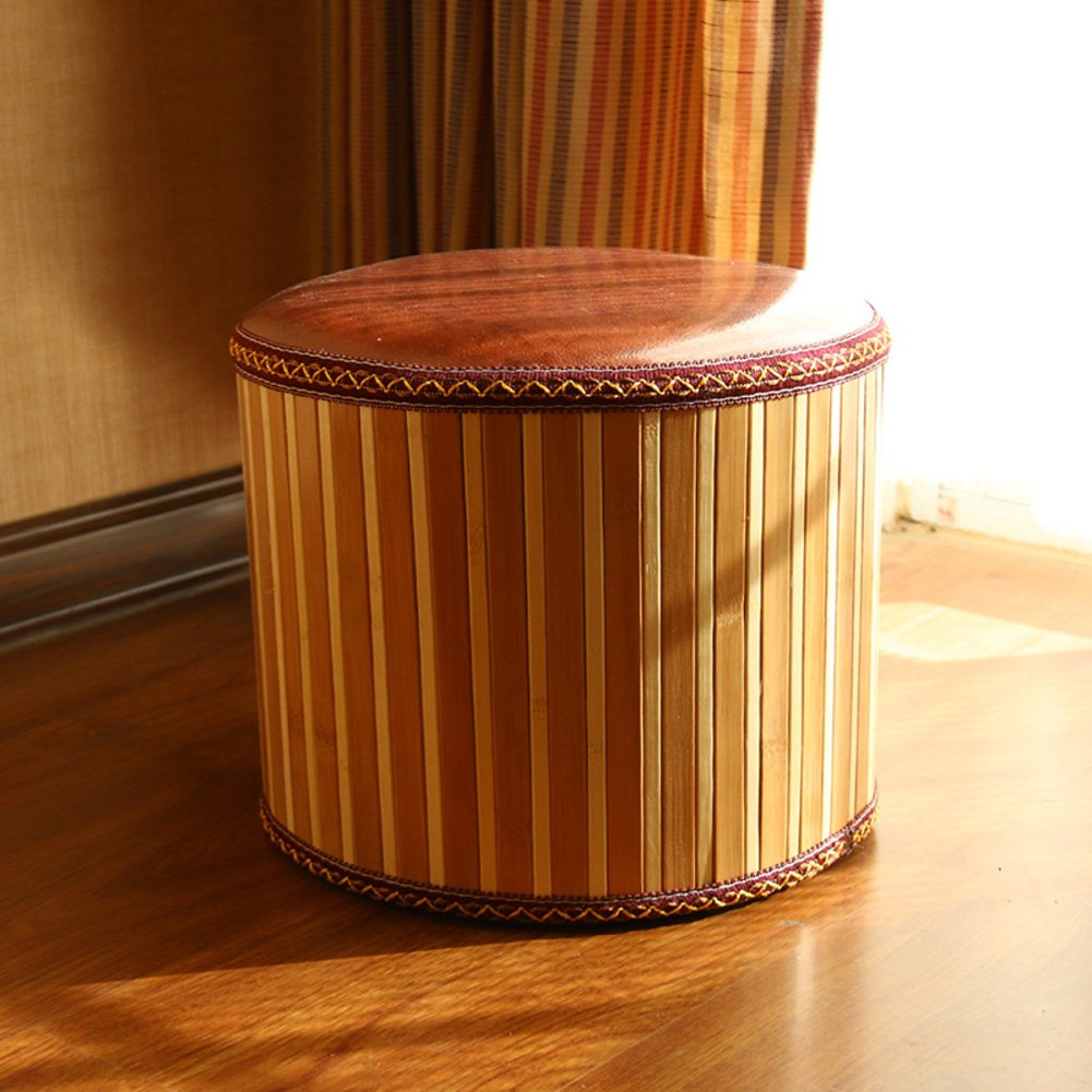 Solid Wood Zafu Hand Knitting Footstool Creative Vintage Decoration Shoe Stool-A W35xH12cm D/&L Bamboo Round Stool