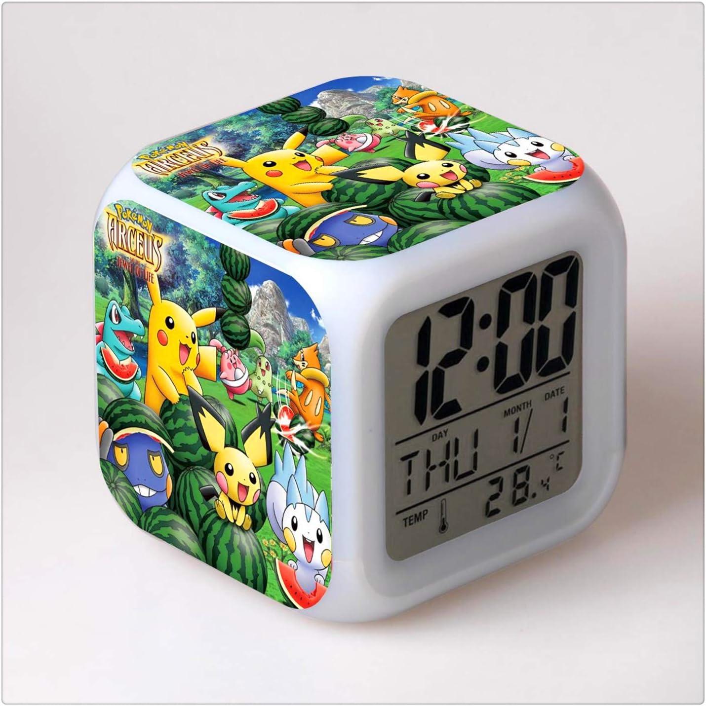 ASAP CHIC Pokémon Cambio de Color Que Brilla intensamente Reloj Despertador Digital Regalo para Familia Niño Amigo Pattern Patrón múltiple