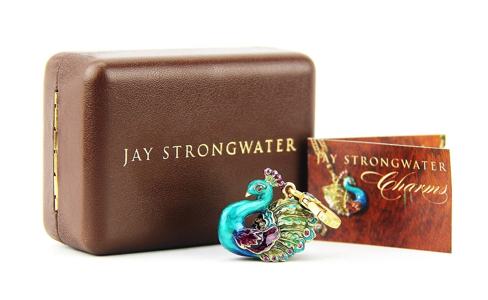 Jay Strongwater Lillian Peacock Charm 18k Gold Plated Swarovski Crystals Brand New Box by Unknown (Image #2)