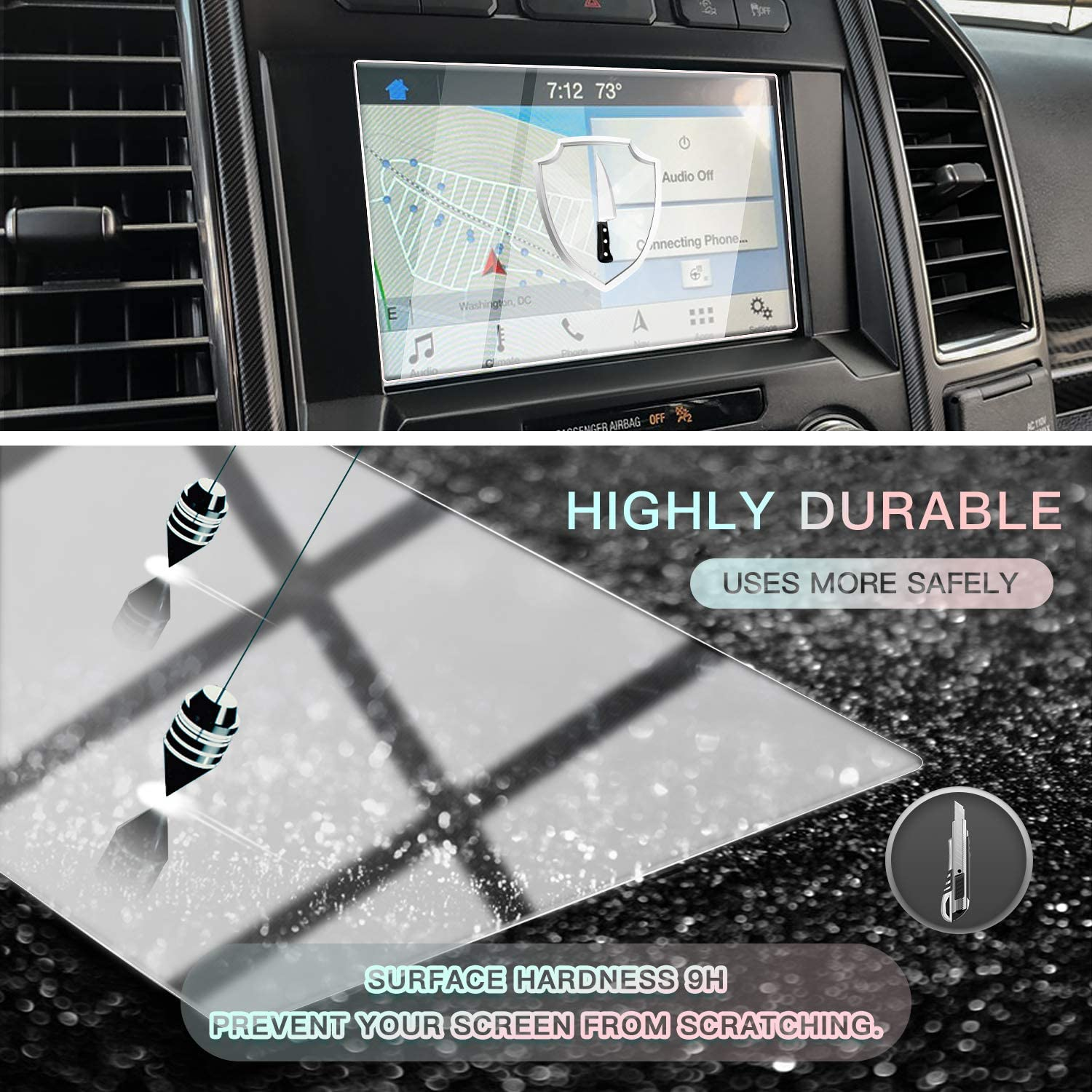 CDEFG Car Screen Protector Center Control Navigation Touch Screen Protector for 2014-2020 Ford F150 F250 F-150 Raptor 8 Inch Tempered Glass HD Scratch Resistance