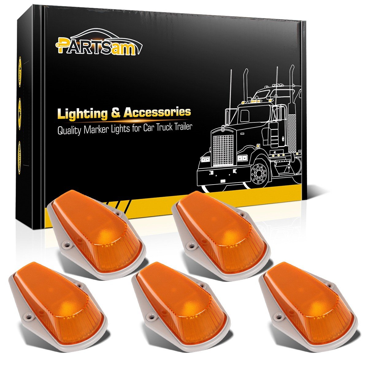 Partsam 5x Roof Running Clearance Light Cab Marker Light Amber Covers w/Base Replacement For 1980-1997 Ford F150 F250 F350 Super Duty Pickup Trucks