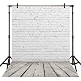Allenjoy 5x7ft White Brick Wall with Gray Wooden Floor Vinyl Photography Backdrop Photo Studio Portrait Background for Video or Item Display