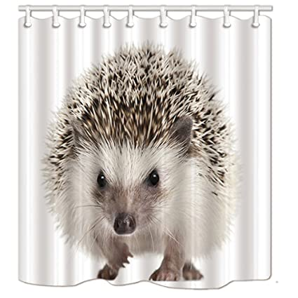 NYMB Little Lovely Hedgehog Play On White Floor Shower Curtain Polyester Fabric Waterproof Bath