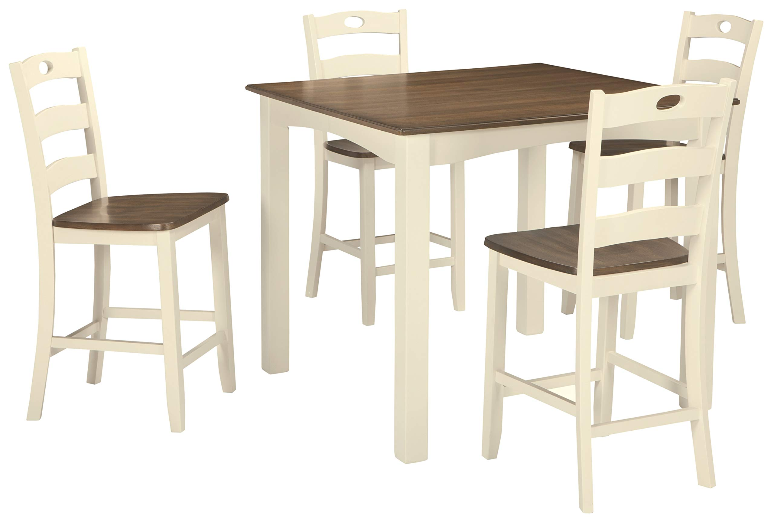 Signature Design by Ashley D335-223 Woodanville Counter Height Dining Room Table and Bar Stools (Set of 5), Cream/Brown by Signature Design by Ashley