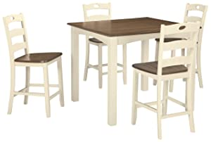 Signature Design by Ashley D335-223 Woodanville Counter Height Dining Room Table and Bar Stools (Set of 5), Cream/Brown