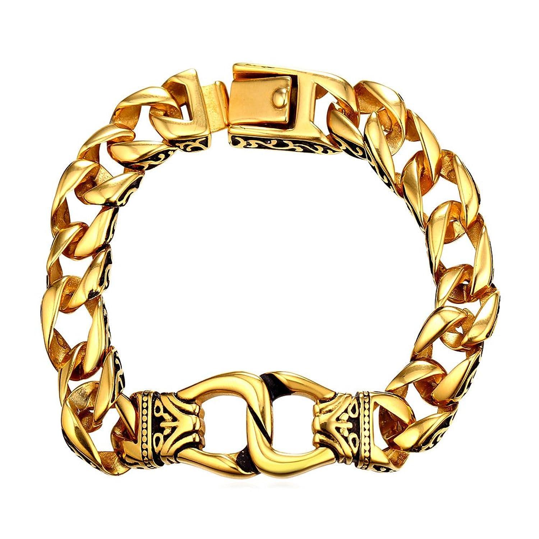 U7 Heavy Metal 15mm Wide Cuban Chain Bracelet Men's Stainless Steel Bracelets