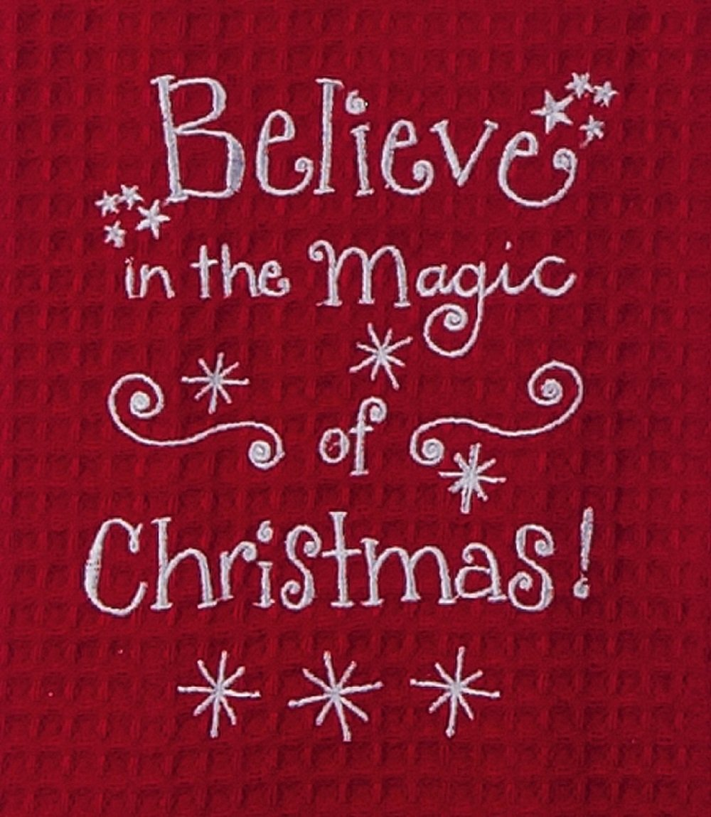 Believe in Magic of Christmas Embroidered Waffle Kitchen Dish Towel Kay Dee