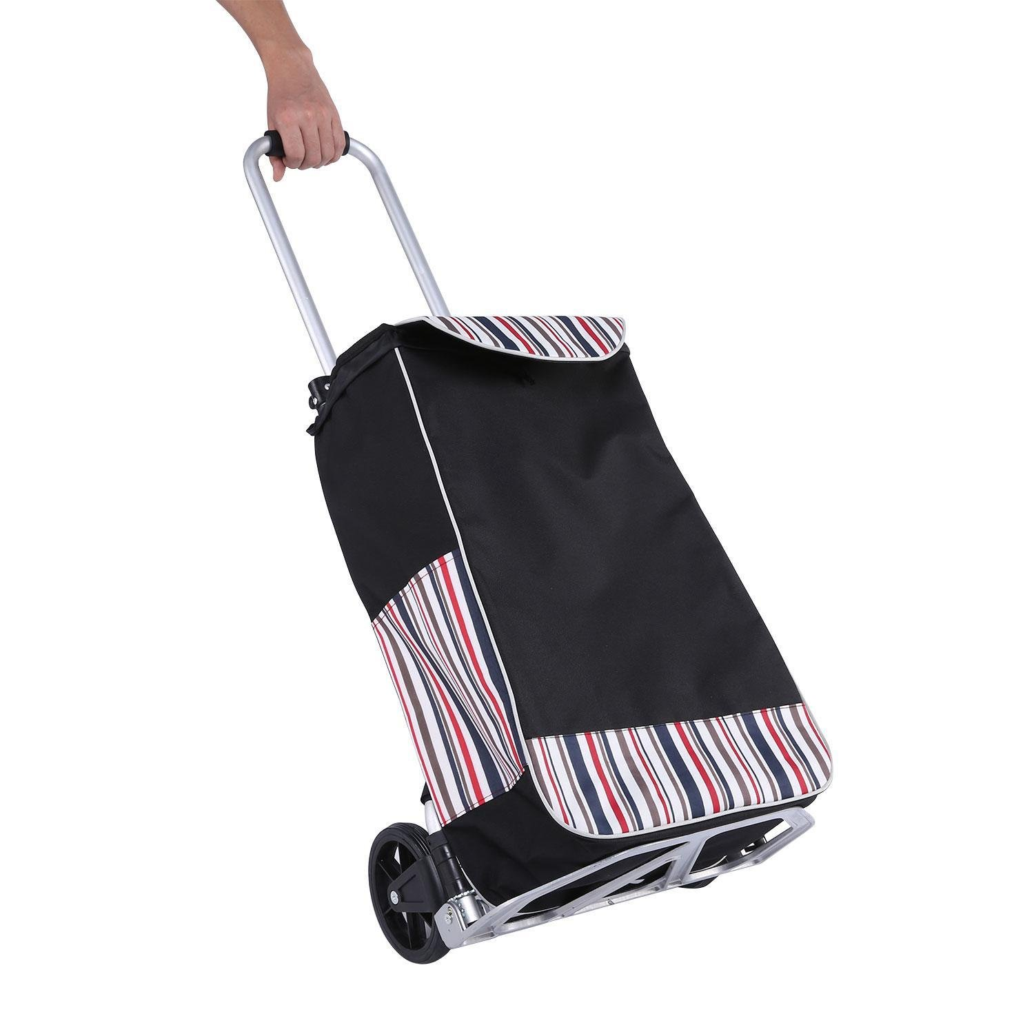 Elever Folding Shopping Cart with Wheels, Stair Climbing Cart Grocery Laundry Utility Cart with Big Bag for Home Travel