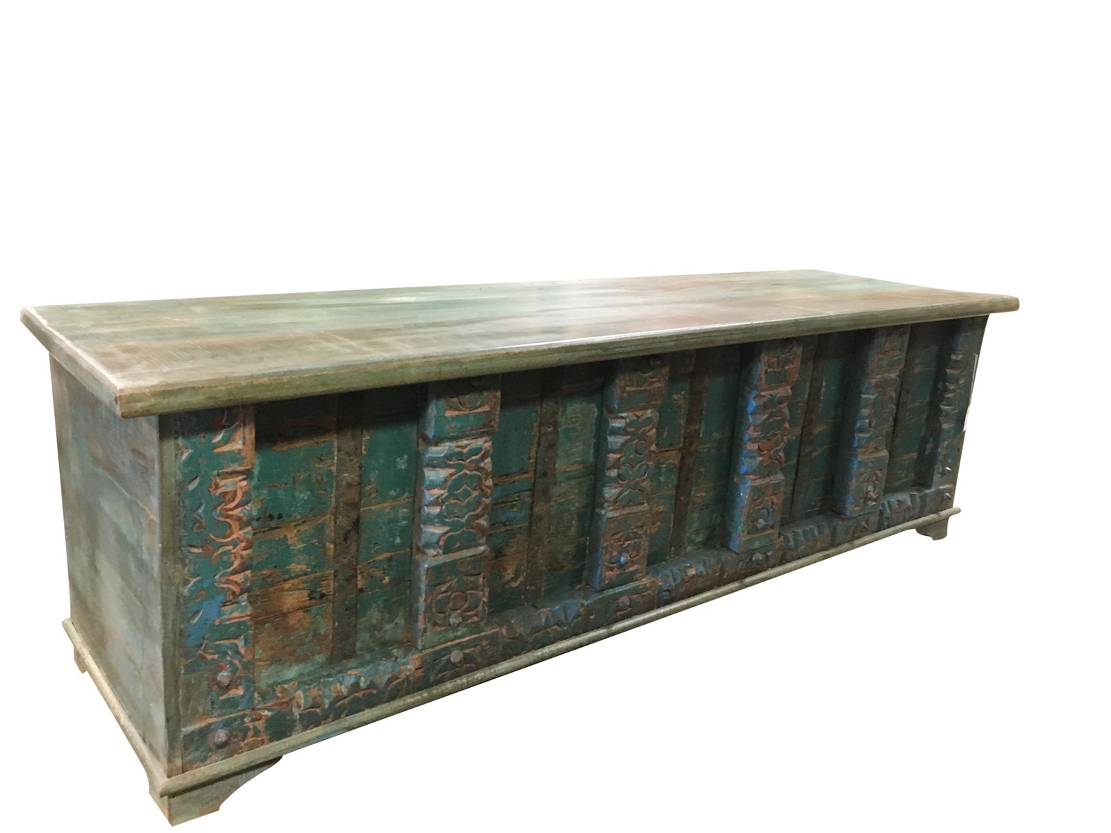 Vintage Trunk Blue Distressed Wood Window Bench Chai Table Iron latch Chest Old Pitara Bohemian Interior