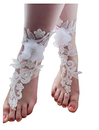 314792c8afe2bc wedding barefoot sandals lace bridal sandals beach sandals footless sandles   Amazon.co.uk  Clothing