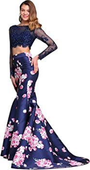 3b9807065639 Two Piece Prom Dress Floral Print Long Sleeve Mermaid Evening Gowns