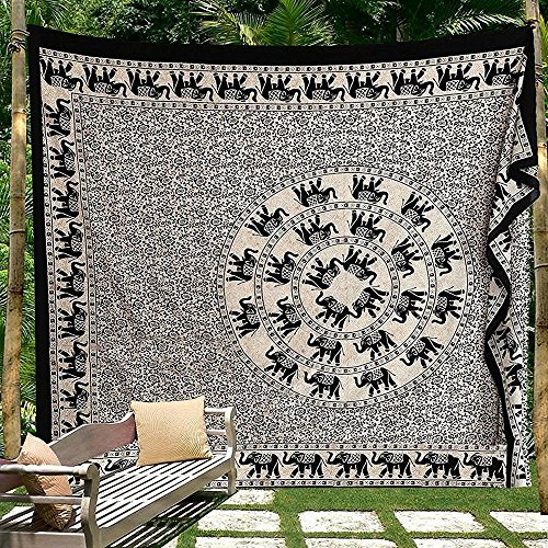Black and White Indian Traditional Mandala Hippie Wall Hanging Cotton Tapestry Bohemian Bedspread (Elephant Floral Queen -