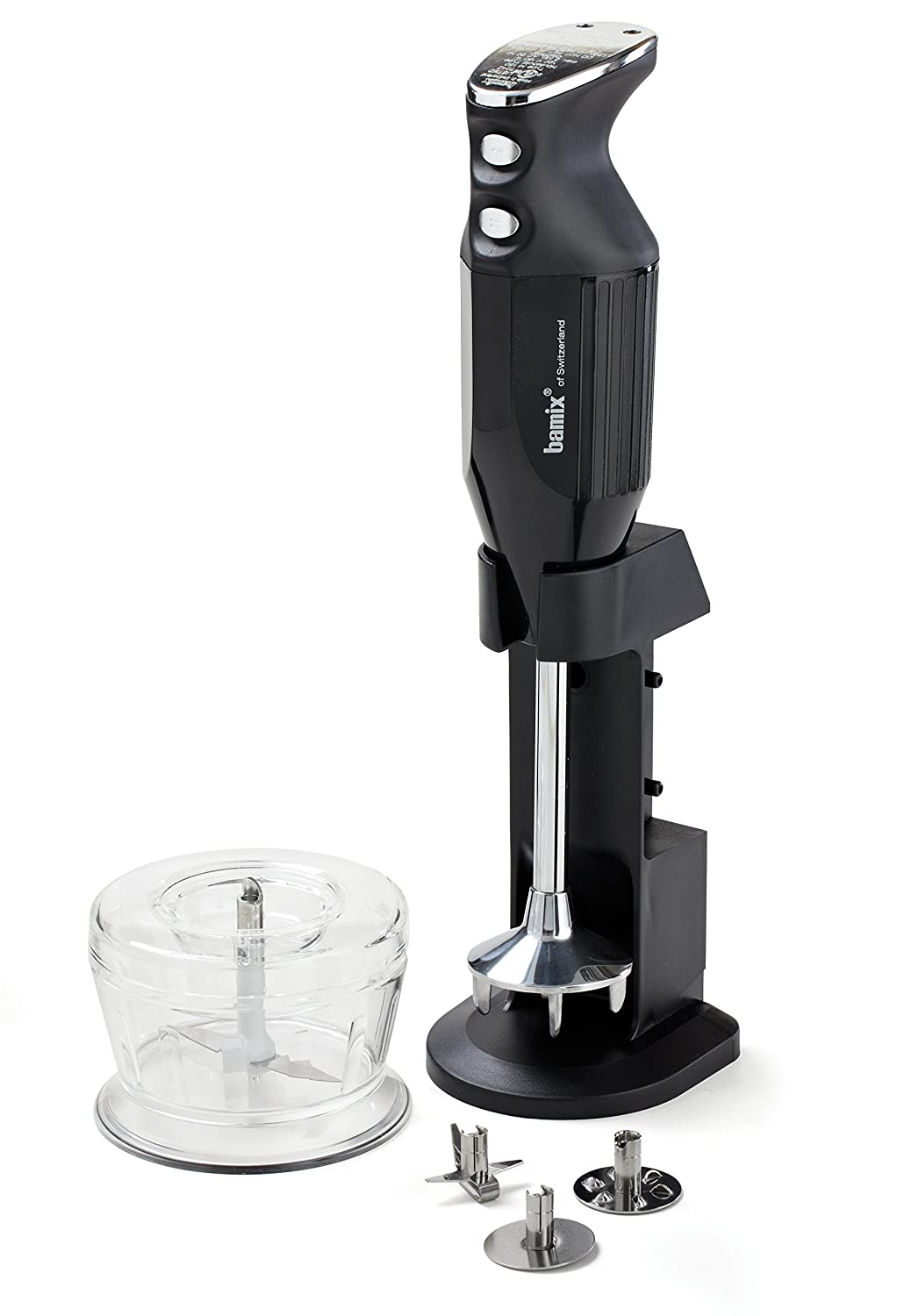 Bamix Deluxe M150 - 150 Watt 2 Speed 3 Blade Immersion Hand Blender with Dry Grinder and Table Stand