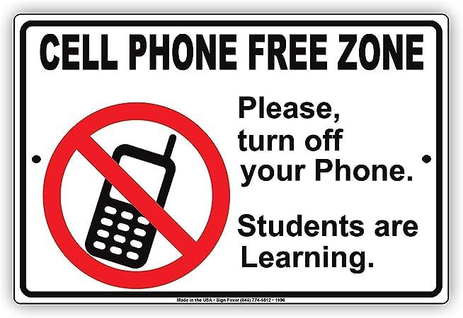 Eugene49Mor teléfono Celular Zona Libre por Favor Apagar su teléfono Estudiantes Son Aprendizaje Escuela restricción Alerta precaución Aviso Aluminio Metal Lata 8 x 12 Pulgadas Placa de señal: Amazon.es: Hogar