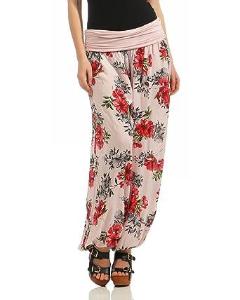 ZARMEXX Femmes Sarouel Pantalons d été Pantalons décontractés Escarpins  Harem Pantalon Aladdin Pantalon Yoga Zumba (Fleur-Rose, 38-44)  Amazon.fr   Vêtements ... 7879b722c73f