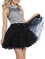 SeasonMall Womens Short Prom Dresses A Line High Neck Tulle Homecoming Dresses