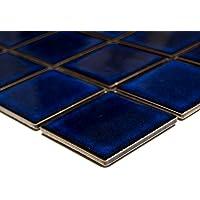 Mosaik-Netzwerk Quadrat uni kobaltblau glänzend Keramikfliese, Mosaikstein Format: 50x50x5 mm, Bogengröße: 60 x 100 mm, 1 Handmuster ca. 6x10 cm