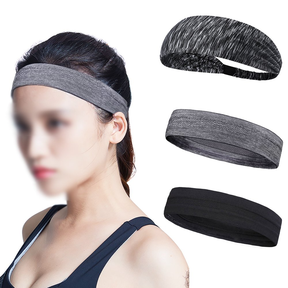 Homgaty 3Pack Unisex Non Slip Sports Headband Sweatband Cycling Running Tennis Working Out for Men and Women Elastic Head Bands Stretch and Moisture Wicking for Yoga