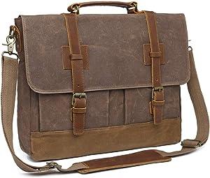 Bosidu Messenger Bag for Men 15.6inch Waterproof Waxed Canvas Genuine Leather Briefcase Computer Laptop Messenger Bag Large Satchel Shoulder Bag Brown
