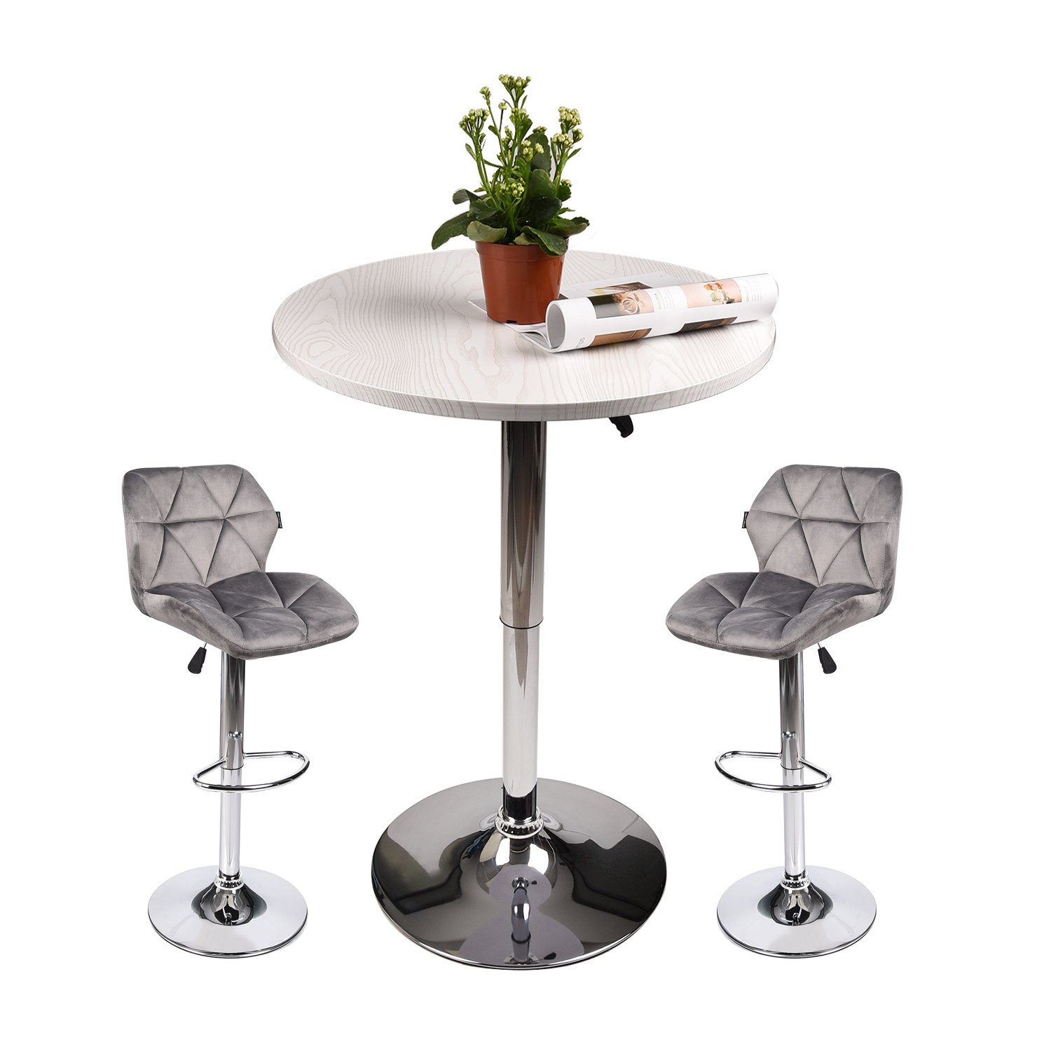 Elecwish Pub Table with Bar Stools Set for Kitchen Home Dining Room (Gray Set D)