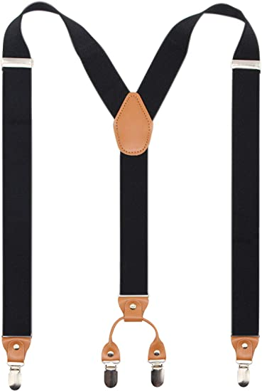 with Heavy Duty Clips Wide Adjustable Elastic Braces for Casual/&Fomal by Grade Code with 6 Strong Clips Wide Adjustable Elastic Braces for Casual/&Fomal by Grade Code Gray Y Back Mens Suspenders