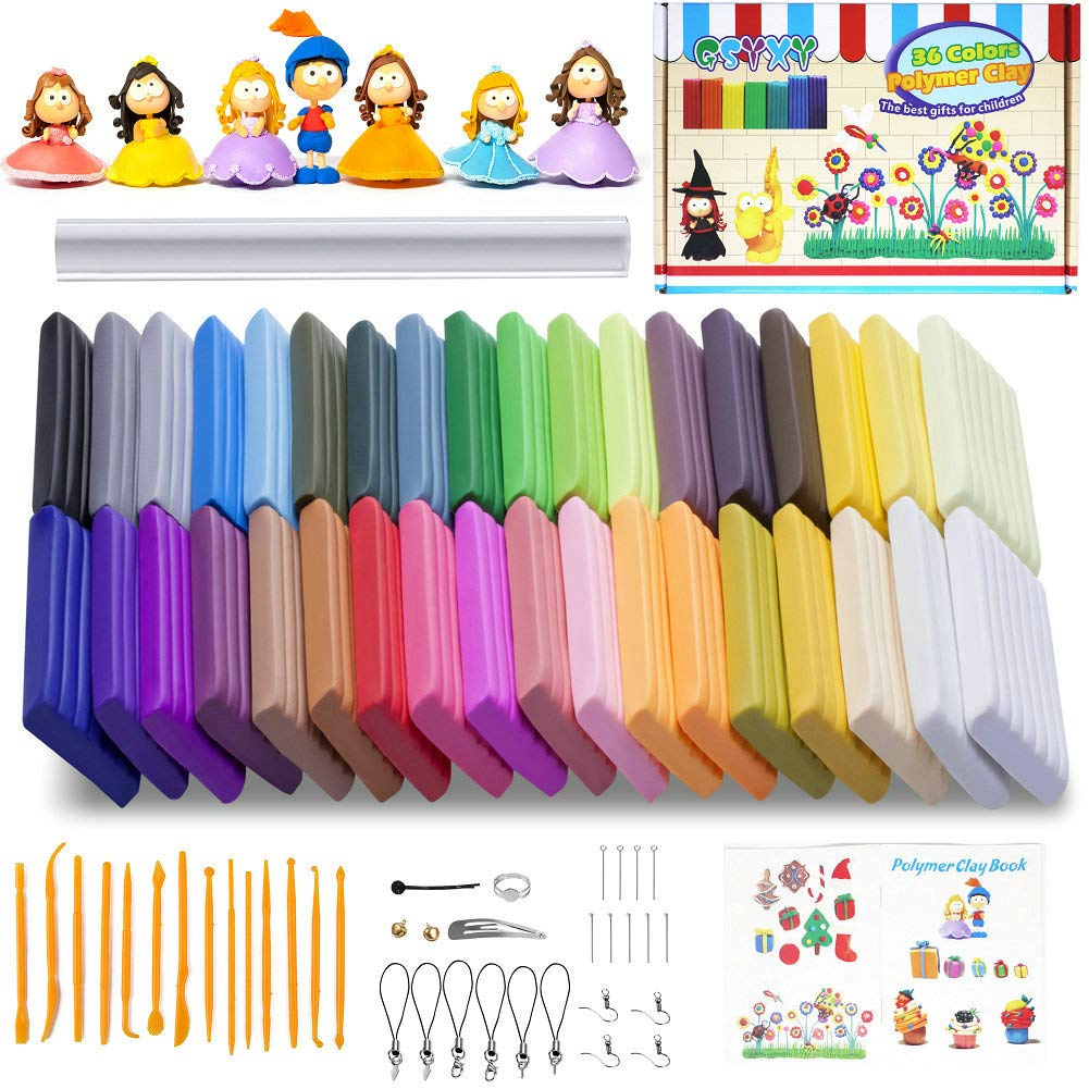 Safe and Nontoxic Soft DIY with Tools and Accessorie Oven Bake Clay 36 Colors Modeling Clay Starter kit Polymer Clay