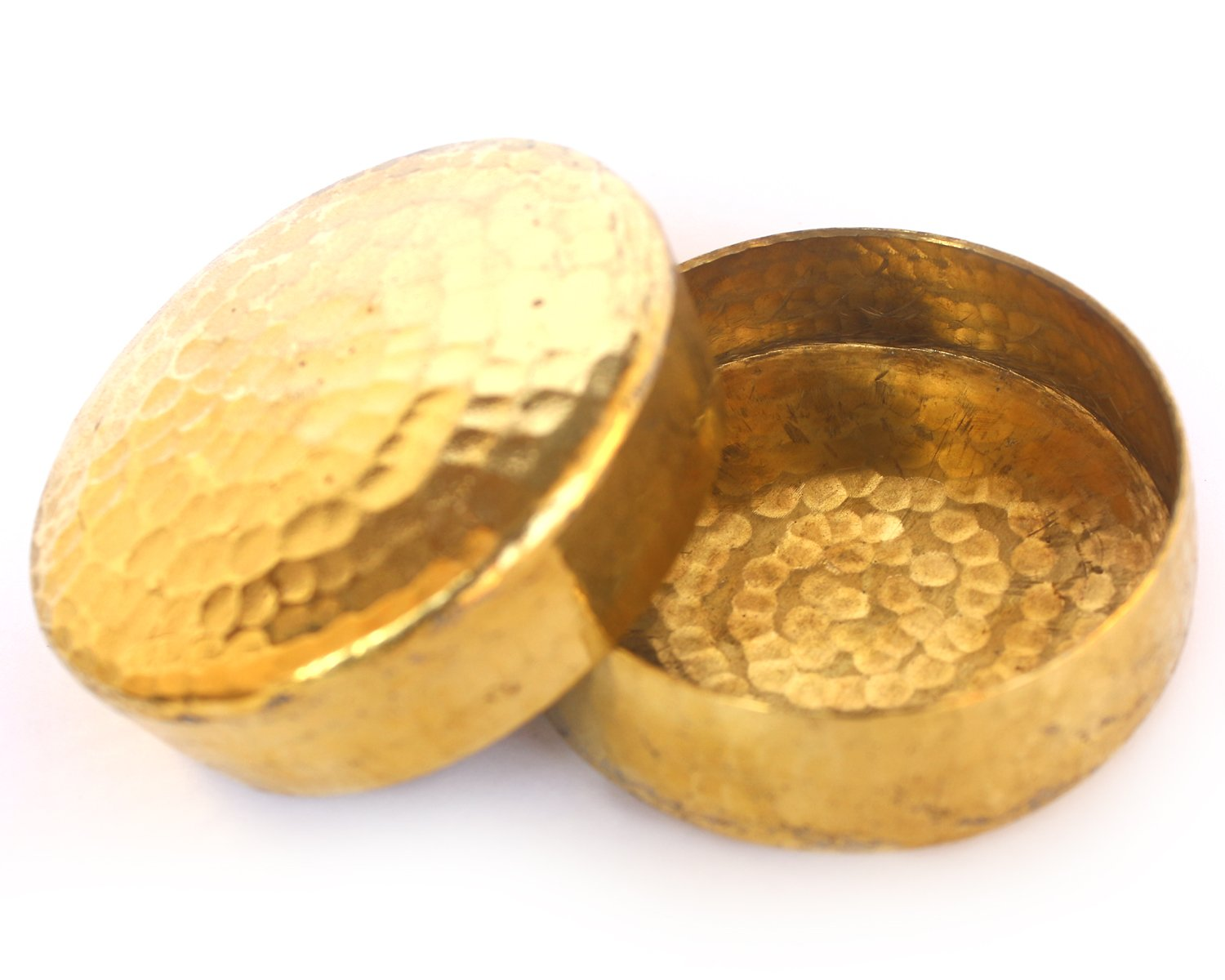 De Kulture™ Hand Made Pure Brass Candle Bowl Set Of 2-3.5X0.75 DH (Inches) For Home Decor Living Room Bedroom Ideal For Valentine's Day Easter Diwali Gift For Girl Woman (Gold) De Kulture Works