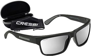 Cressi Rocker - Lunettes de Soleil Polarisées Pour homme - 100% Anti-UV Avec étui rigide - Noir/Lentilles Gris r4cDwt