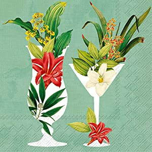 Boston International C845827 IHR 3-Ply 20-Count Beverage Paper Napkins, 5 x 5-Inches, Cocktails In Paradise Mint