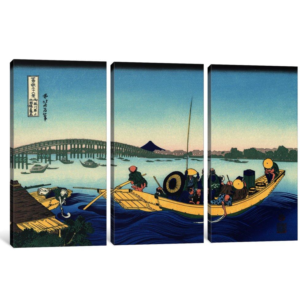 iCanvasART 3-Piece Sunset Across The Ryogoku Bridge from The Bank of The Sumida River at Onmagayashi Canvas Print by Katsushika Hokusai 1.5 x 60 x 40-Inch