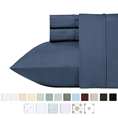 California Design Den 400 Thread Count 100% Cotton Sheet Set, Indigo Batik Queen Size Sheets 4 Piece Set, Long-Staple Combed Pure Natural Cotton Best Bed Sheets Bed, Soft & Silky Sateen Weave