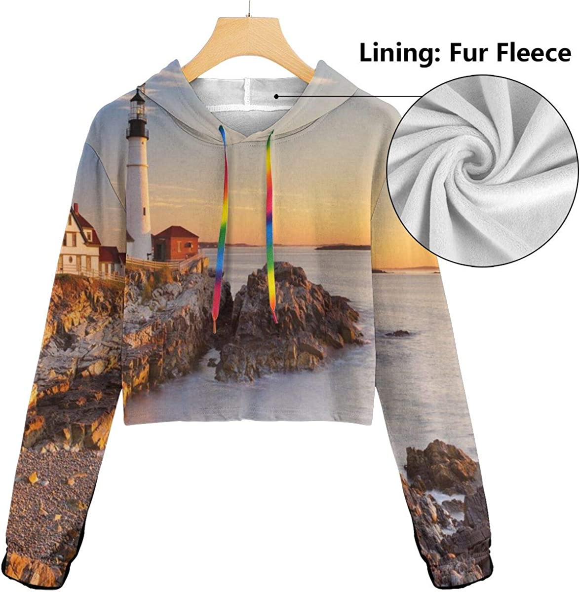 Womens Cropped Hoodie,Different Bears with Grunge Design Growling Animal Portraits Silhouettes Retro Style,S-XL