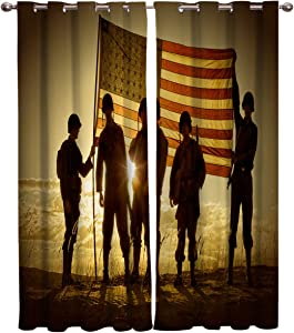 Window Curtain Soldiers and American Flag Home Decor Draperies 2 Panels Set for Living Room Bedroom Independence Memorial Day 40×63in×2