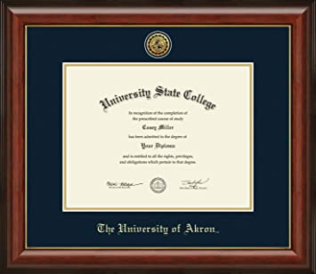 Amazon Com The University Of Akron Officially Licensed Gold Printed Medallion Diploma Frame Diploma Size 11 X 8 5