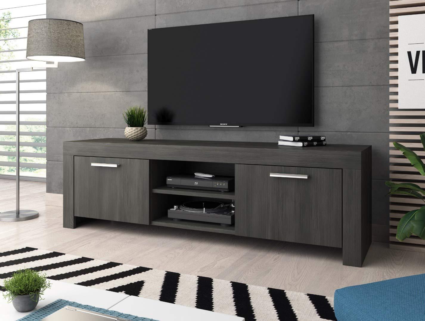 E-Com Eiche Schwarz 140cm TV-Lowboard Fernsehschrank Fernsehtisch River