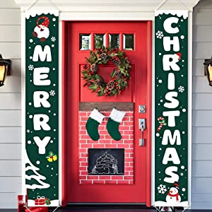 Ivenf Christmas Porch Sign Set Green Banners, Xmas Hanging Decorations for Home Outdoor Indoor Wall Front Door Decor