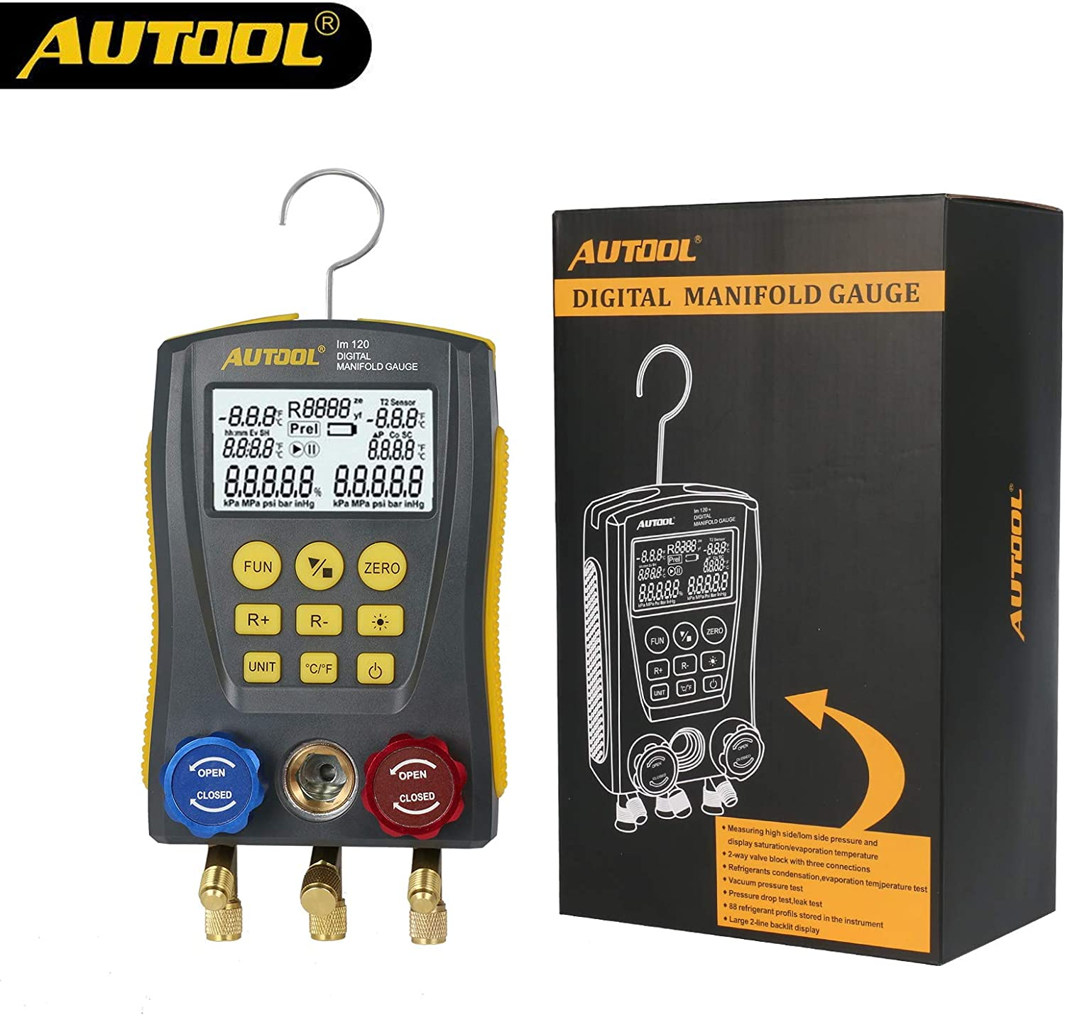 Autool Meter HVAC Gauge Pressure Digital Manifold Refrigerantion Temperature Kit