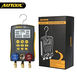 AUTOOL lm120 Refrigeration Digital Manifold Gauge Meter HVAC Vacuum Pressure Temperature Tester Kit Leakage Test