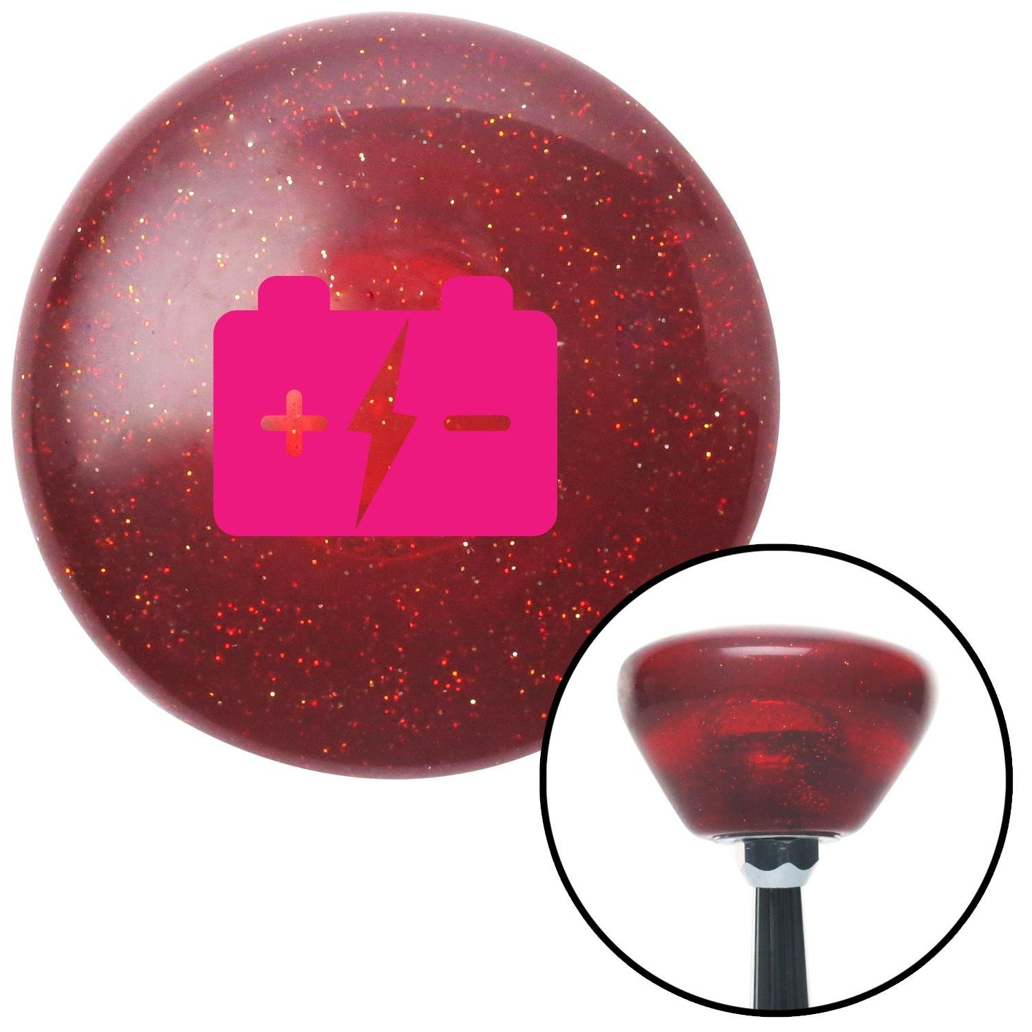 Pink Battery Charge Symbol American Shifter 193495 Red Retro Metal Flake Shift Knob with M16 x 1.5 Insert