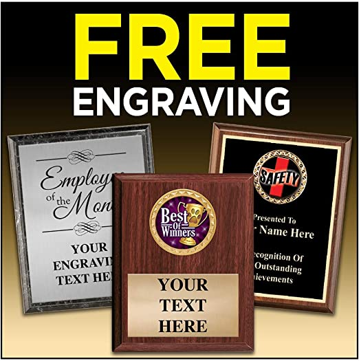 Crown Awards Corporate Plaques 4.5 x 6.5 Achievement Wood Plaque Award with Personalized Engraving