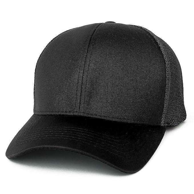 b78d79791cb08 Trendy Apparel Shop Oversize XXL Structured Trucker Mesh Baseball Cap -  Black - 2XL