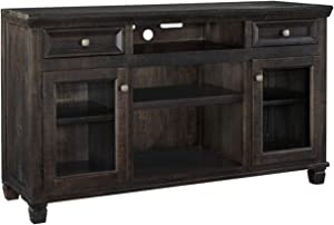 Signature Design by Ashley Townser Large TV Stand with Fireplace Option Grayish Brown