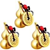 Hotop 3 Pieces Chinese Gourd Brass Wu Lou Keychains Feng Shui Coins Calabash Decorations Pendant Key Rings for Good Luck Fort