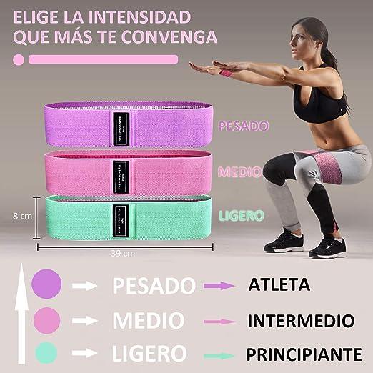 Yicente Bandas Resistencia Elasticas Fitness Bandas de Resistencia para Piernas 3 Niveles Cintas Elásticas de Tela Set de 3 Bandas Antideslizantes ...