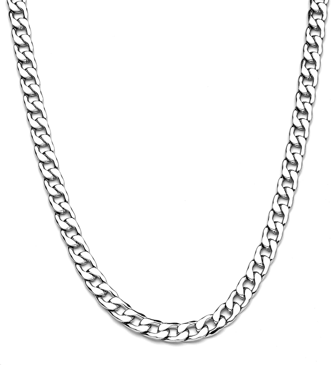 Fashion Casual Retro U-shaped Stainless Steel Silver Necklace Jewelry Men