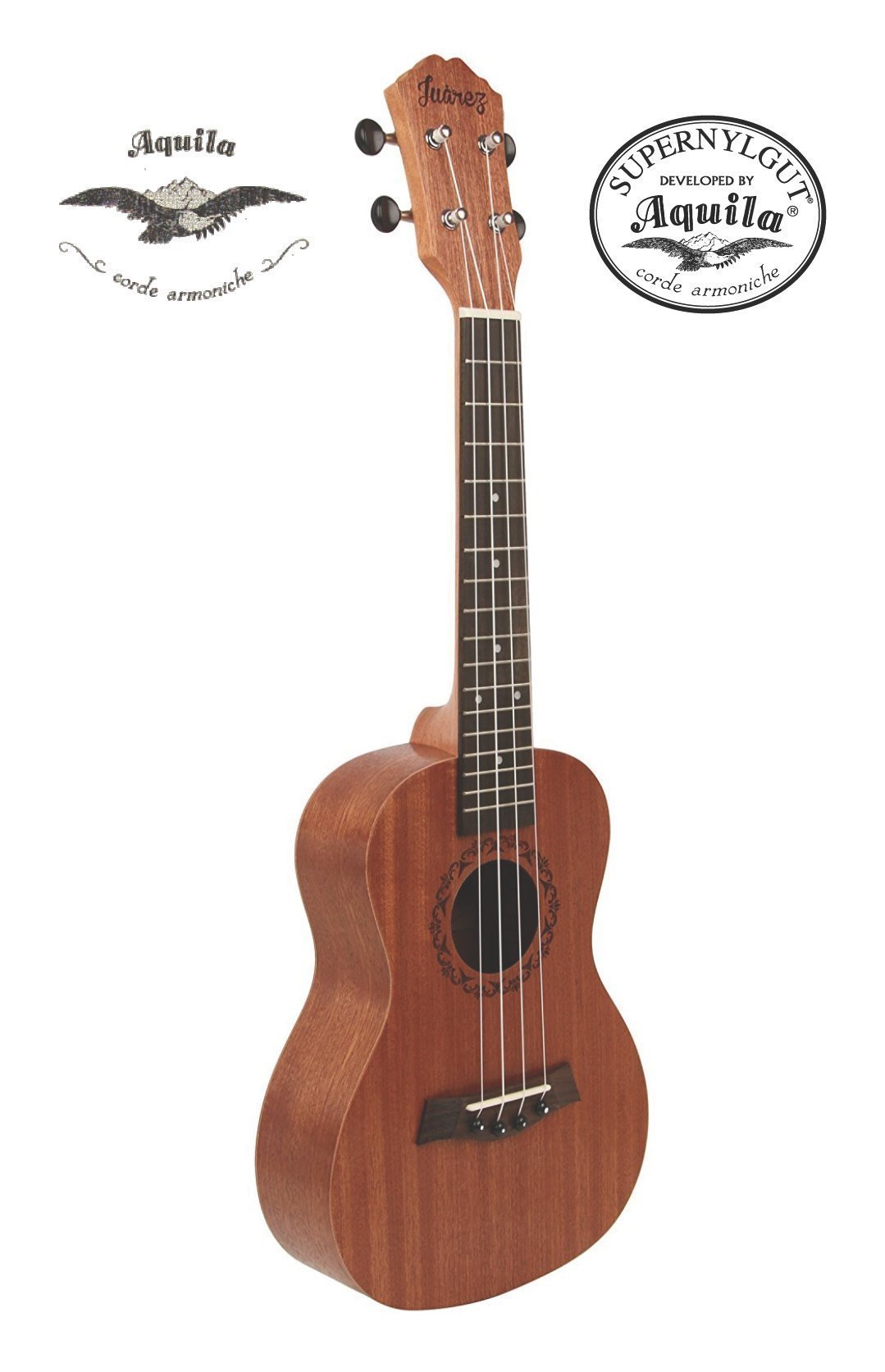 "Juarez JRZ23UK/NA 23"" Soprano Ukulele Kit, Aquila Strings (Made In Italy), Hawaiian Guitar, Rosewood Fingerboard, With Bag And Picks- Natural Brown product image"