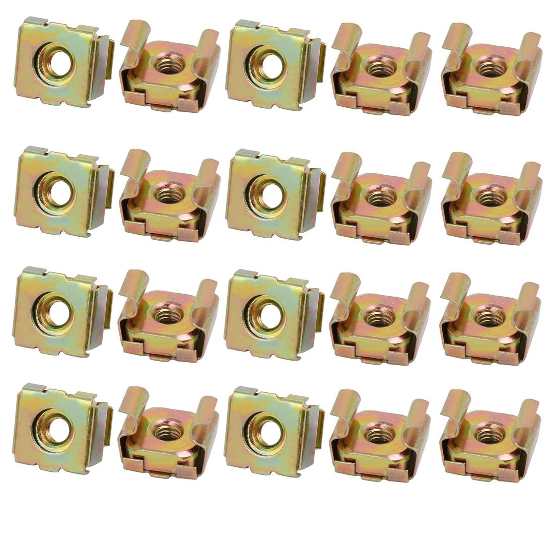 Sourcingmap® 20pcs M4 Carbon Steel Captive Cage Nut Brass Tone for Server Shelf Cabinet a17092500ux0072