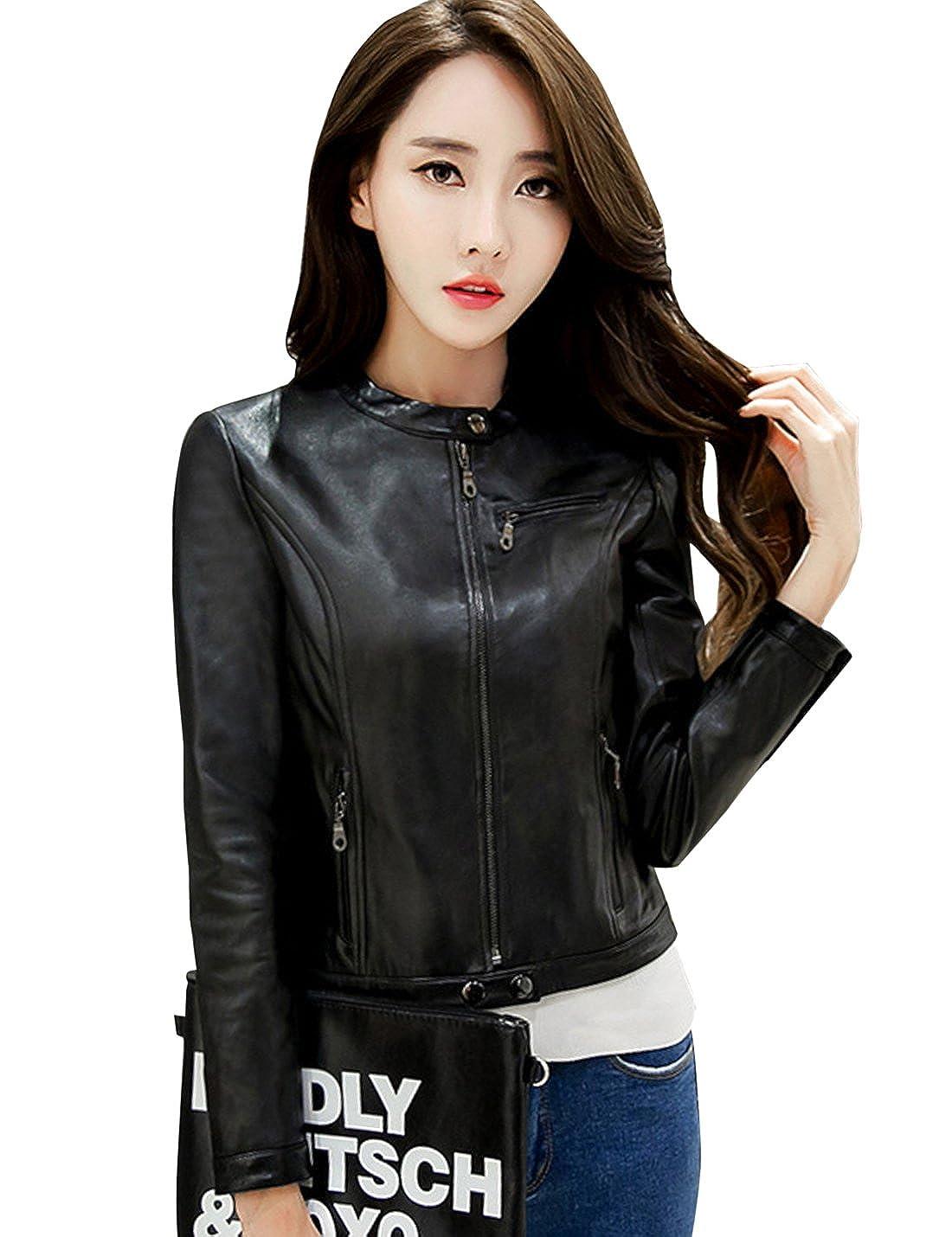 b3fbfece7 Tanming Women's Collarless Faux Leather Moto Biker Jacket at Amazon ...