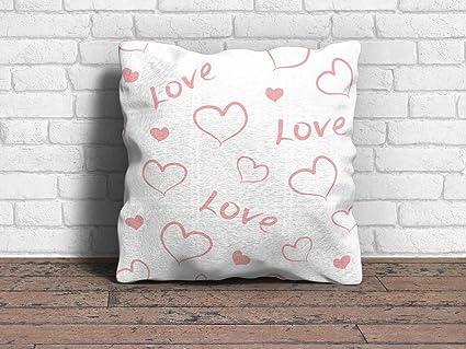 Cojín San Valentin Enamorado Tipografia Love con Corazones ...